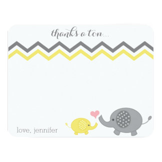Gris Chevron de jaune de Merci de baby shower Carton D'invitation 10,79 Cm X 13,97 Cm