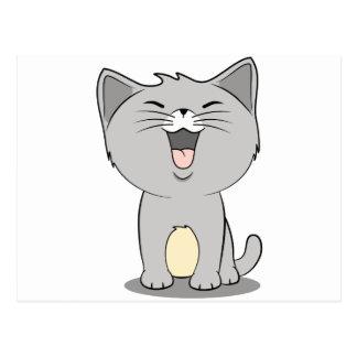 Gris de chaton de Kawaii Carte Postale