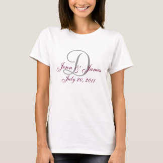 Gris de faire-part de mariage de monogramme et t-shirt