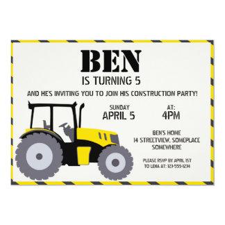 Gris de jaune de tracteur de fête d'anniversaire carton d'invitation  12,7 cm x 17,78 cm