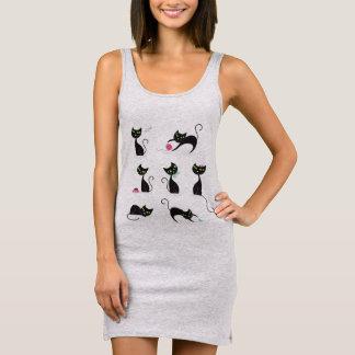 ❤ gris de la robe des femmes avec des chatons