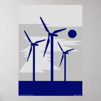 Gris de Surise de moulin à vent - énergie éolienne Affiche