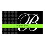 Gris décoré d'un monogramme moderne de noir de cha carte de visite