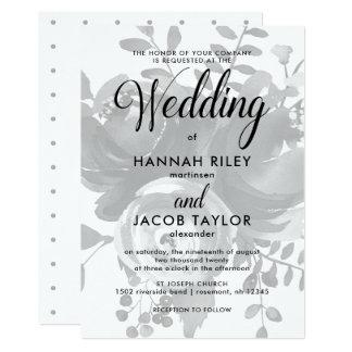 Gris élégant avec épouser floral et de points carton d'invitation  12,7 cm x 17,78 cm