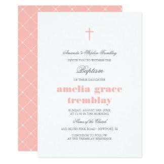 Gris élégants et rougissent baptême croisé rose carton d'invitation  12,7 cm x 17,78 cm