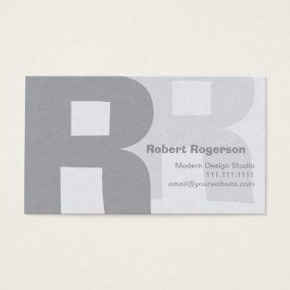 Gris élégants rétro grand R à deux lettres Cartes De Visite