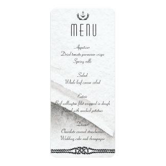 Gris et blanc nautiques de menu de mariage carton d'invitation  10,16 cm x 23,49 cm