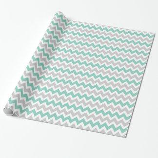 Gris et rayures de Chevron de zigzag d'Aqua Papier Cadeau