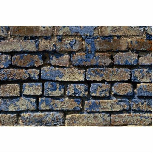 Gris Et Texture Patin E De Brique Peinte Par Bleu Photo En