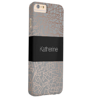 Gris géométrique de motif d'or rose élégant coque barely there iPhone 6 plus