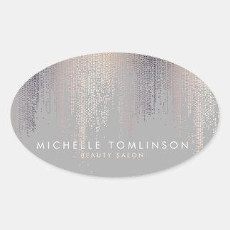 Gris Luxe de motif de pluie de confettis de regard Sticker Ovale