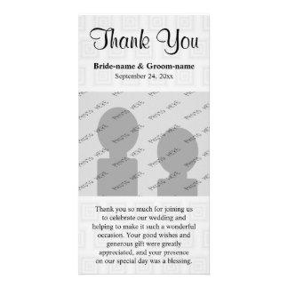 Gris pâle de conception de Merci de mariage avec d Cartes Avec Photo