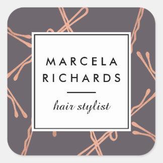 Gris rose chic de salon de coiffeur de pinces d'or sticker carré