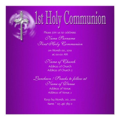 Gris rose de première sainte communion faire-part