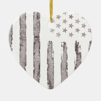 Gris vintage de drapeau américain ornement cœur en céramique