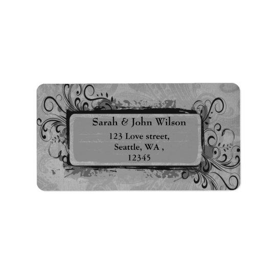 gris vintage de mariage, étiquette de adresse de