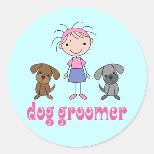 Groomer de chien de profession d'animal familier adhésif rond