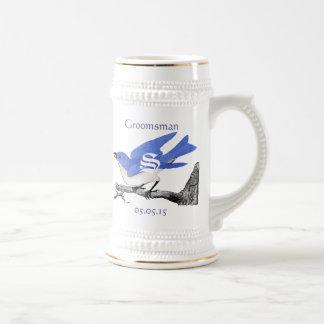 Groomsman Stein épousant les oiseaux bleus