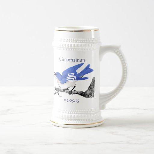Groomsman Stein épousant les oiseaux bleus vintage Tasse À Café