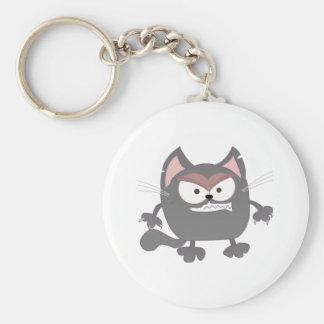 Gros chat gris fâché de Kitty Porte-clés