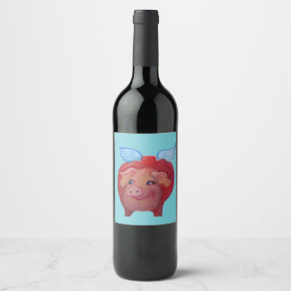 gros étiquette de vin de porc de vol