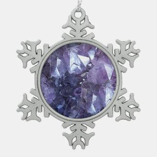 Groupe de cristal d'améthyste ornement flocon de neige pewter