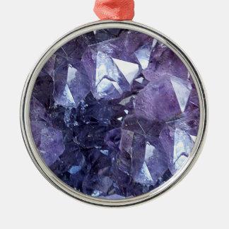 Groupe de cristal d'améthyste ornement rond argenté