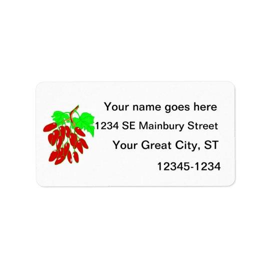 Groupe de poivrons rouges étiquette d'adresse