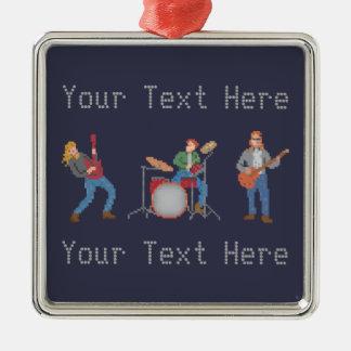Groupe de rock fait sur commande de pixel ornement carré argenté