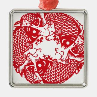Groupe de tourbillonnement rouge de poissons de ornement carré argenté