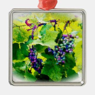 groupes des raisins 17 ornement carré argenté