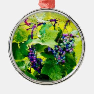 groupes des raisins 17 ornement rond argenté