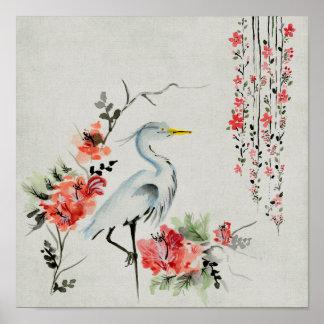 Grue asiatique de ` florale posters
