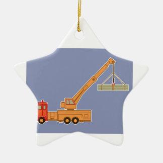 Grue orange d'équipement lourd de transport - bleu ornement étoile en céramique