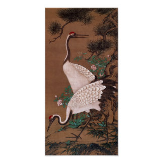 Grues, beaux-arts de Japonais de Watanabe Shuseki Posters