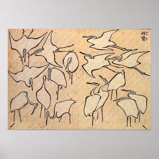 Grues de Hokusai les ' Poster