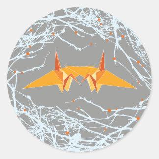 Grues de papier oranges + Le nid s'embranche Sticker Rond