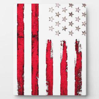 Grunge de rouge de drapeau américain plaque photo