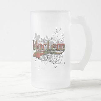 Grunge de tartan de MacLean Frosted Glass Beer Mug