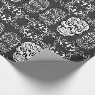 Grunge gothique blanche de sucre de noir décoratif papier cadeau