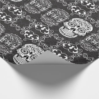 Grunge gothique blanche de sucre de noir décoratif papiers cadeaux