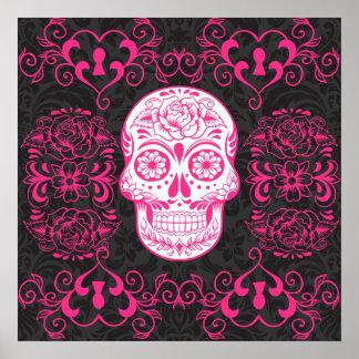 Grunge gothique de sucre de roses indien de roses  poster