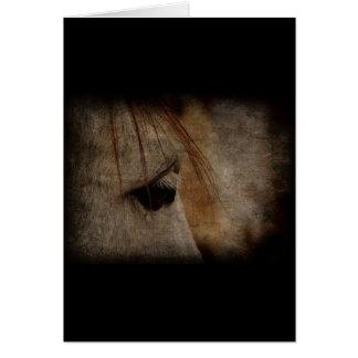 Grunge grise de visage de cheval carte de vœux
