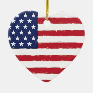 Grunge patriotique de drapeau américain vieille ornement cœur en céramique