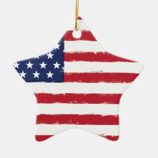 Grunge patriotique de drapeau américain vieille ornement étoile en céramique