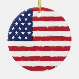 Grunge patriotique de drapeau américain vieille ornement rond en céramique