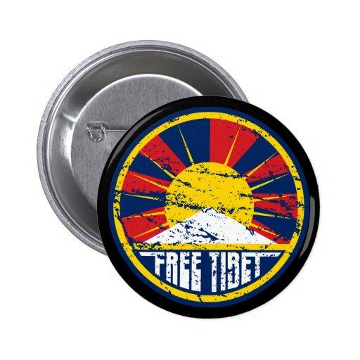 Grunge ronde libre du Thibet Badge Avec Épingle