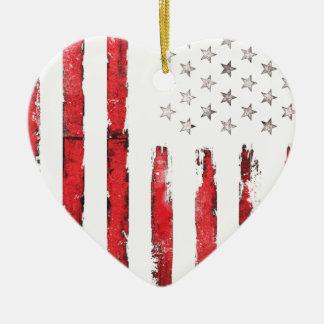 Grunge ROUGE vintage de drapeau américain Ornement Cœur En Céramique