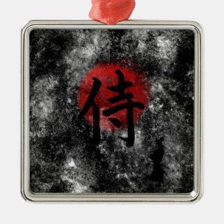 Grunge samouraï 2 de kanji ornement carré argenté