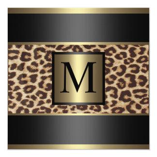 Guépard de monogramme, mariage de léopard carton d'invitation  13,33 cm
